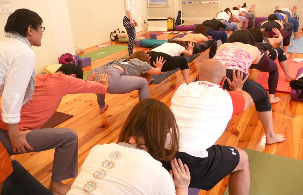 アナトミック骨盤ヨガ練習風景。大人数で中腰で列を作っている様子