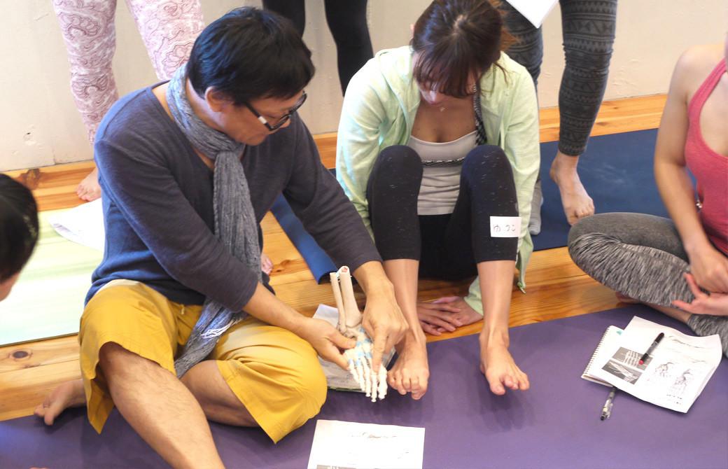 内田かつのり ヨガ解剖学:足裏アーチワークショップの様子。足の模型に足を並べて構造を理解している様子