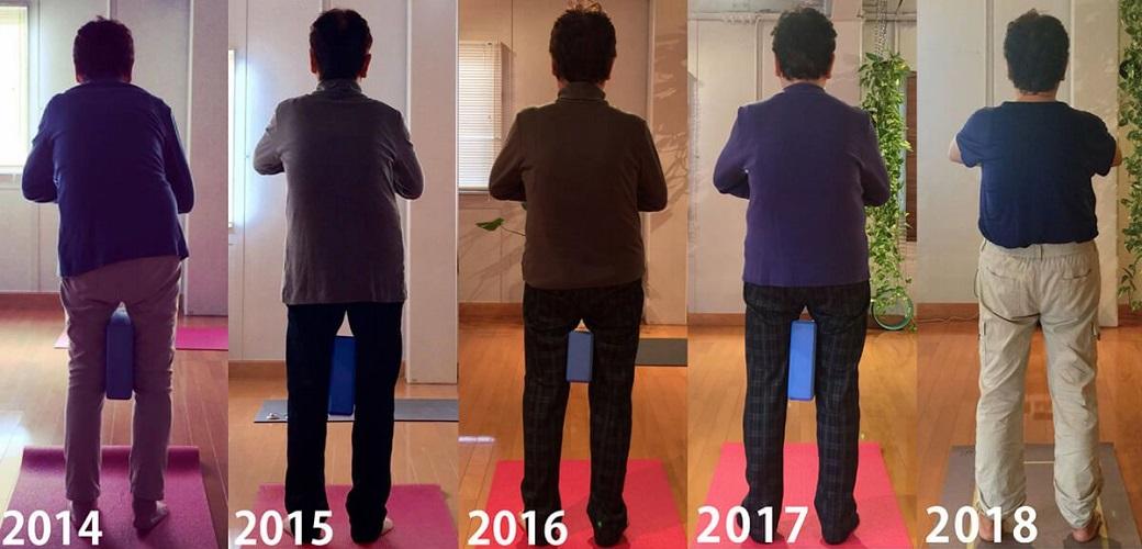 さかたのりこ先生のお母さんの2014年~2018年まで1年おきの後ろ姿。