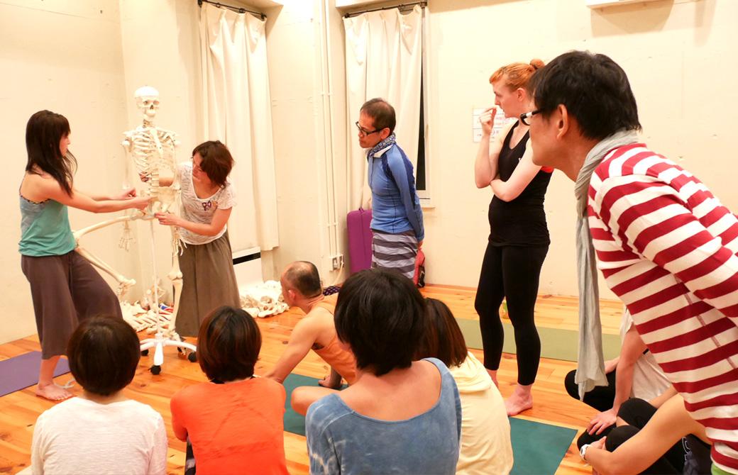 ヨガ解剖学ティーチャーズトレーニング講座風景。骨模型を使用して説明している生徒とそれを見守る講師(内田かつのり)