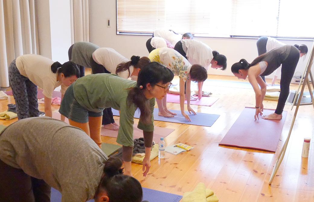 ヨガ講師(磯部佳世子)に習って生徒20名ほどが一緒に立位前屈をしている様子