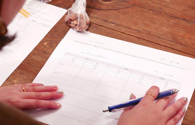 味覚のワークで使う資料に書き込む内容を考えている生徒さんの手元