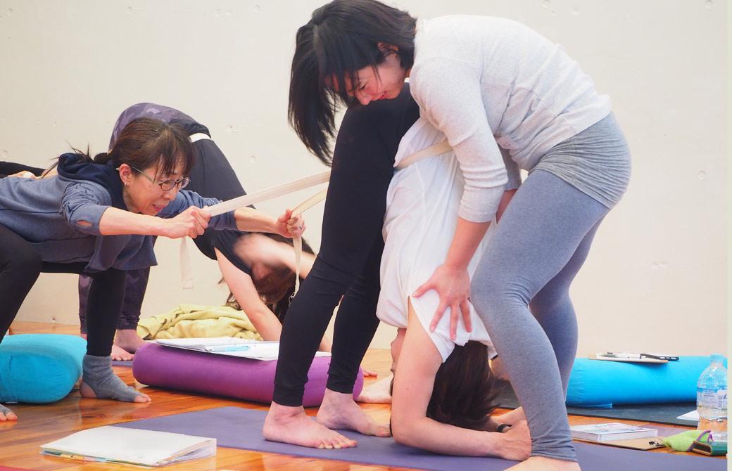 内田かつのり先生による6日間ティーチャーズトレーニングで前屈で肘が床についている