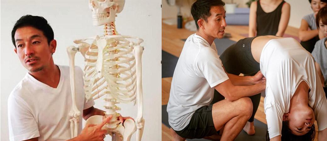 骨模型で指導する山本俊朗と、生徒さんをモデルにウルドゥヴァダヌラアサナの指導をする山本俊朗
