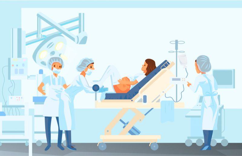 産院での出産の様子